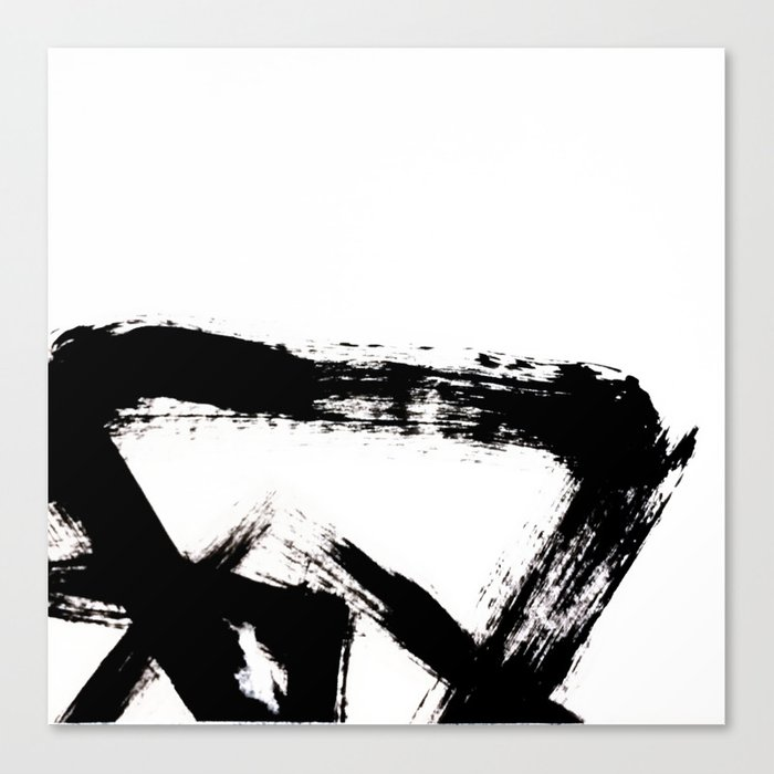 Brushstroke 8 A Simple Abstract Black And White India Ink Piece Canvas Print By Blushingbrushstudio