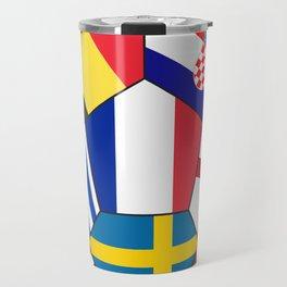 Football ball with various flags - semifinal and final Travel Mug