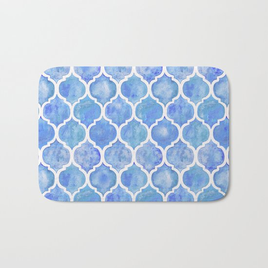 Cornflower Blue Moroccan Hand Painted Watercolor Pattern Bath Mat