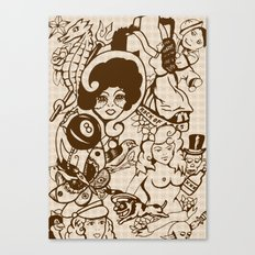 American Traditional Tattoo Collage (Brown) Canvas Print