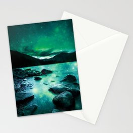 Magical Mountain Lake Teal Green Stationery Cards