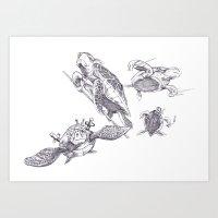 ninja turtles Art Prints featuring Ninja Turtles by MrDenmac