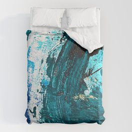 Crescendo: A vibrant abstract painting in blues and white by Alyssa Hamilton Art Comforters