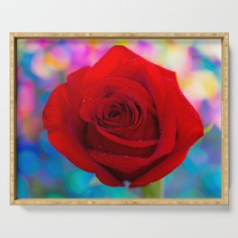 Red Rose and Rainbow Bokeh Serving Tray