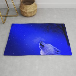 Amazing Wolf Howling At Cold Blue Night Sky Ultra HD Rug