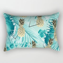 Tropical Pineapple Jungle Geo #3 #tropical #summer #decor #art #society6 Rectangular Pillow