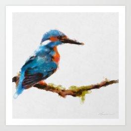 Kingfisher - watercolor (signed) Art Print