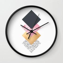 Geometric Diamonds - Slate Rose and Gold Wall Clock