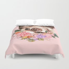 Baby Sloth with Flowers Crown in Pink Duvet Cover