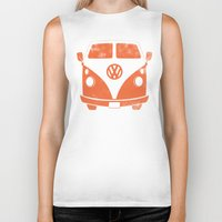 vw bus Biker Tanks featuring VW Bus by Burnish and Press