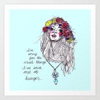 girl power Art Prints featuring girl power by HiddenStash Art
