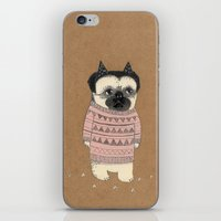 pug iPhone & iPod Skins featuring pug by maria elina