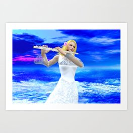 A Girl Playing Flute Art Print