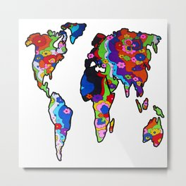 Rainbow Floral World Map Metal Print