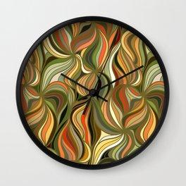 Boho Green & Red Wave Pattern Wall Clock