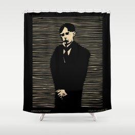 Poe woodcut print Shower Curtain