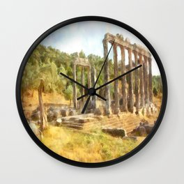 Fallen Ruins of Euromos Watercolor Wall Clock