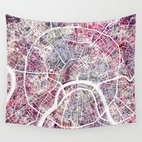 moscow Wall Tapestries featuring Moscow by MapMapMaps.Watercolors