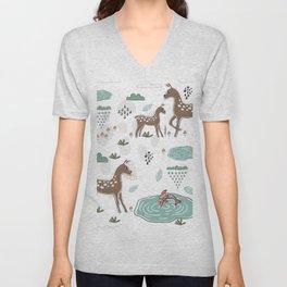 Pond and Deer Unisex V-Neck