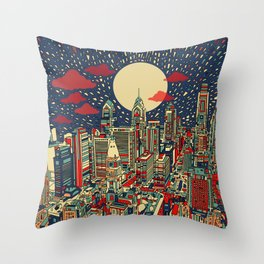 philadelphia city skyline Throw Pillow