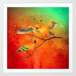 Parrots Sun Conures Art Print
