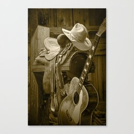 Western Country 6 String Acoustic Guitar in Sepia Tone with Horse Saddle and Cowboy Hat Canvas Print
