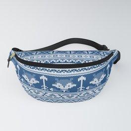Fair Isle Fox Blue - White Fanny Pack