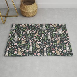 Cute rabbits (dark blue) Rug