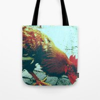 cock Tote Bags featuring cock by habish