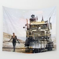 truck Wall Tapestries featuring Fury Road truck by Tony Vazquez