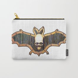 White Skull Halloween Bat Decoration In A Retro Style Carry-All Pouch