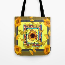 WESTERN STYLE BUTTERFLIES-SUNFLOWERS ART Tote Bag