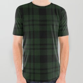 Plaid (Dark green) All Over Graphic Tee