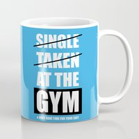 gym Mugs featuring Lab No. 4 - At The Gym Gym Motivational Quotes Poster by Lab No. 4