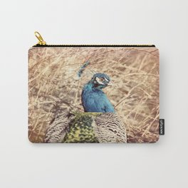 Peacock photography blue green brown photography branches immortality royalty Carry-All Pouch