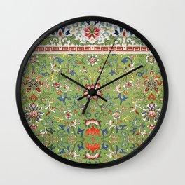 Asian Floral Pattern in Jade Green Antique Illustration Wall Clock