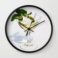 martini Wall Clocks featuring  Peppermint Martini by Guna Andersone & Mario Raats - G&M Studi