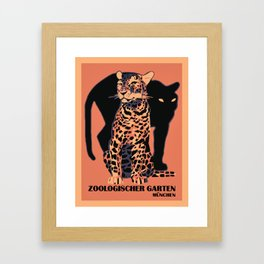 Retro vintage Munich Zoo big cats Gerahmter Kunstdruck