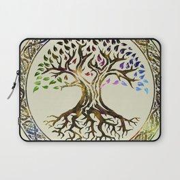 Tree of life  -Yggdrasil - Gold & Green  foil Laptop Sleeve