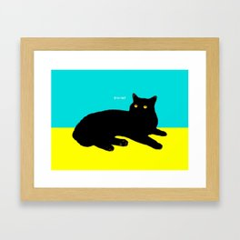 Black Cat on Yellow and Sky Blue Framed Art Print