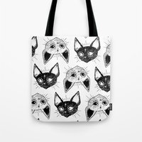 kittens Tote Bags featuring Kittens  by lOll3