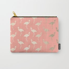 Gold Flamingo Pattern Coral Pink Carry-All Pouch