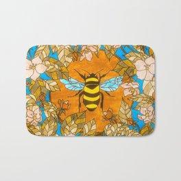 Bumblebee In Wild Rose Wreath Bath Mat