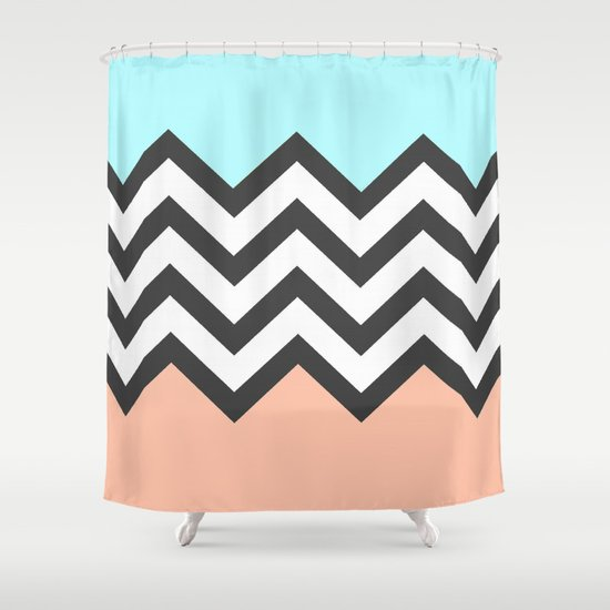 Color Blocked Chevron 4 Shower Curtain By Josrick Society6