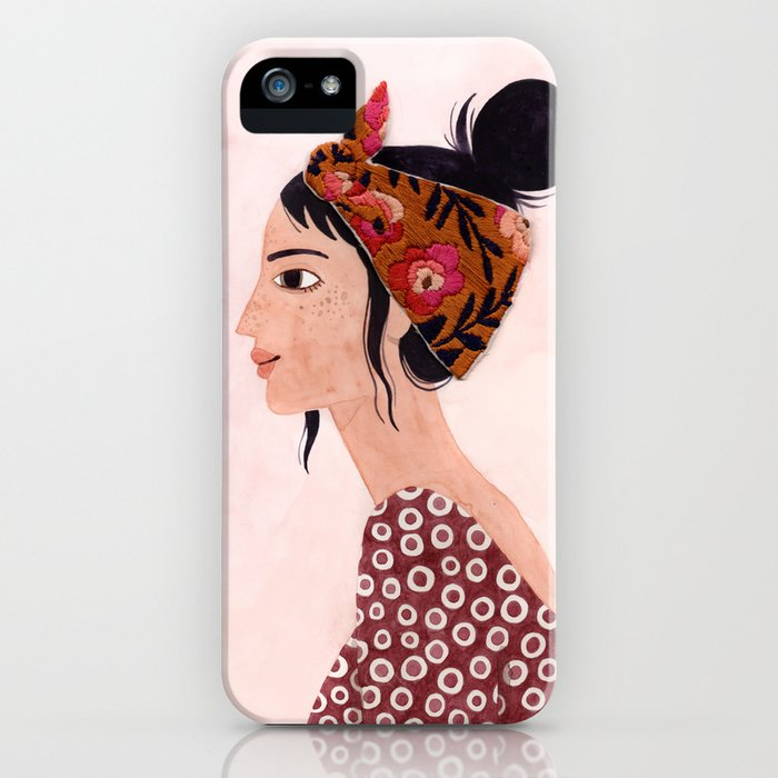 Embroidered scarf iPhone Case