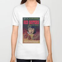 "book cover V-neck T-shirts featuring ""Red Sisters"" Book Cover by 7 Hells: Retro Horror art of Bill Rude"