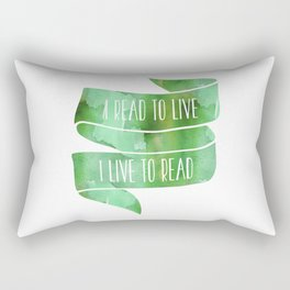 I Read To Live, I Live To Read - Green Rectangular Pillow