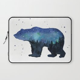 Forest Bear Silhouette Watercolor Galaxy Laptop Sleeve