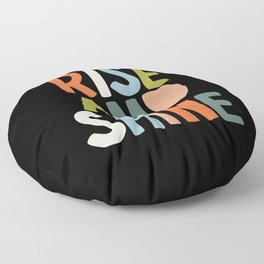 Rise and Shine orange blue green black and white Floor Pillow