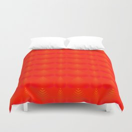 Mother of pearl pattern of red hearts and stripes on a ruby background. Duvet Cover